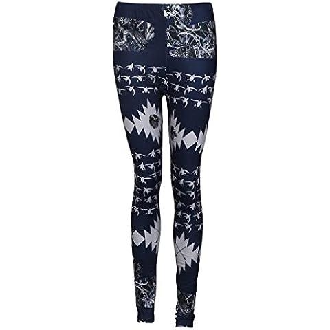 Tongshi Moda Mujer Otoño Invierno Skinny Printed Stretch Pantalones Leggings (Azul, M)