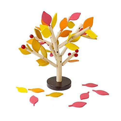 1PC kreative Bausteine ??Tree Set für Kinder Kinder Männer Vorschul Jungen und Mädchen DIY Lernen Bildungs ??3D Holz Assembly Spielzeug Tile Heimspiel-Büro-Dekor 4 Farbe Blätter