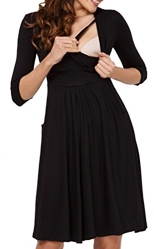 Zeta Ville - Maternité Robe trapèze grossesse poches allaitement - femme - 763c Noir