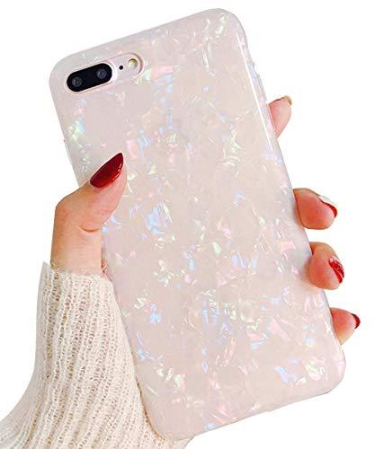 Herbests iPhone 8 Plus/iPhone 7 Plus Handyhülle Glitzer Glitter Luxus Bling Glänzend 3D Geometrisches Transparent TPU Silikon Schutz Handy Hülle Handytasche Silikon Case Durchsichtig Tasche,Bunt