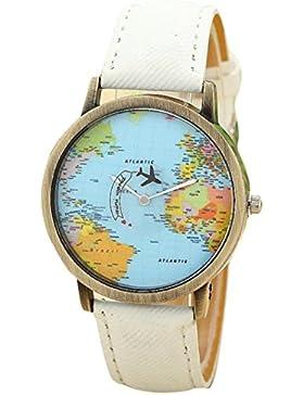FEITONG Damenuhr Kleiden Uhr Global Travel Mit dem Flugzeug Karte Muster Denim-Gewebe-Band Armbanduhr Weiß