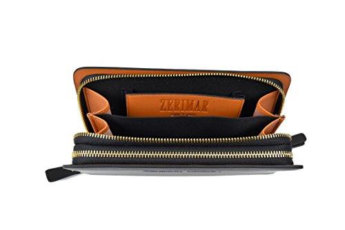 Zerimar Cartera mano Hombre Unisex Cartera Grande Trabilla de Seguridad Cartera de Piel con Múltiples Compartimentos Color Negro Medidas: 22x13x4 cms.