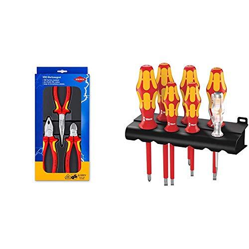 Knipex-serie (Knipex 00 20 12 - Elektro-Paket mit drei VDE-geprüften Zangen & Wera 160 i/7 Rack Schraubendrehersatz Kraftform Plus Serie 100 + Spannungsprüfer + Rack, 7-teilig, 05006147001)