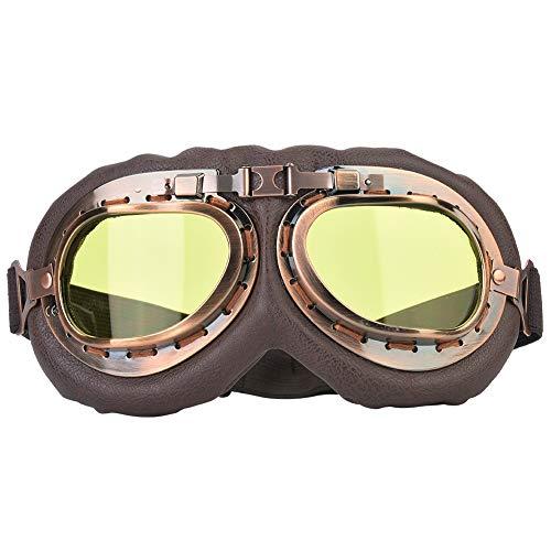 Tbest Motorradbrillen Vintage, Motorrad Schutzbrille Sportbrillen Scooter Radfahren Brille Sonnenbrille Winddicht Retro Helm Brille Classic Brille für Männer Frauen(gelbes Glas)