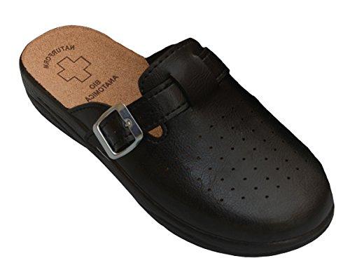 Bawal Damen Pantolette Sandalen Komfort Kork Hausschuhe Arbeit Modell 3512 (41, 3511-Schwarz)