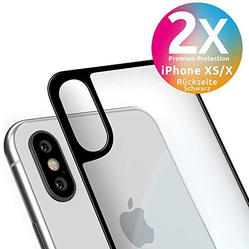 smart engineered Schutzglas Rückseite kompatibel mit iPhone XS/X | Premium Frame Line Schwarz [2 Stück] volle randlose Abdeckung [absolut passgenau mit Rand] mit Schablone Rahmen [3D Touch]