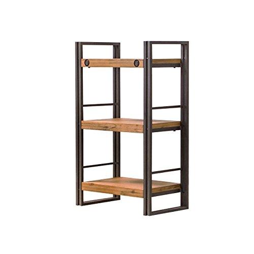Estantería de estilo industrial de metal y madera de acacia, acabados prolijos, Colección Workshop, madera/metal, 3 étagères