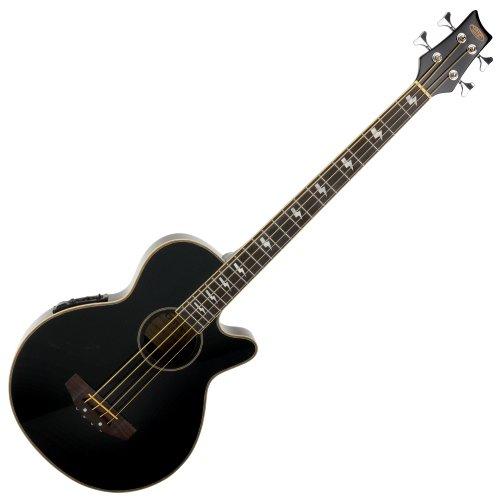 Classic Cantabile AB-40 Akustik Bass schwarz (Bassgitarre mit Pickup/Tonabnehmer, 3-Band-Equalizer, aus Palisander und Fichte)