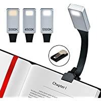 Lámpara de Lectura Libro Luz led Clip Luz de lectura 3 modos de brillo, Recargable USB luz para leer para Kindle iPad Camping