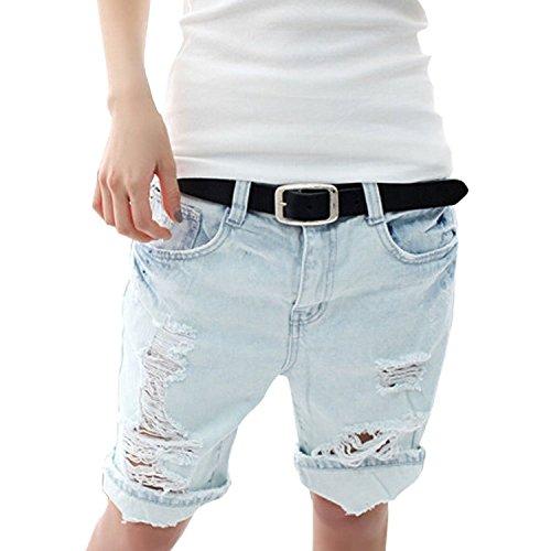 Minetom Sexy Damen Denim Jeans Shorts Hot Pants Lochjeans Kurzschlüsse Boyfriend Jeans Bermuda Used Look ( Size 36 , Waist 66-69cm) (Shorts Denim Pocket Stitch)