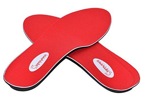 Samurai Insoles Zapatos de Ortopedia insertar plano pies arco soporte - gran dolor en el talón y apoyo de la Fascitis Plantar M15 Rojo