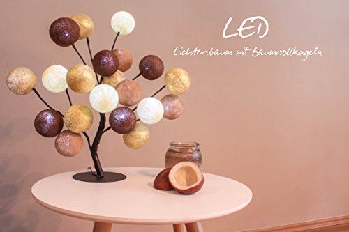 CREATIVECOTTON LED Baum, Baumwolle, Creme, helles, Dunkles Braun, Gold, 20 Kugeln