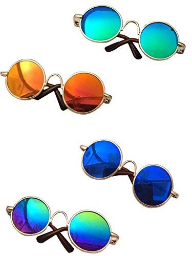 MMY, occhiali da sole rotondi per animali con montatura in metallo, per gatti o cani di piccola taglia, 1 confezio