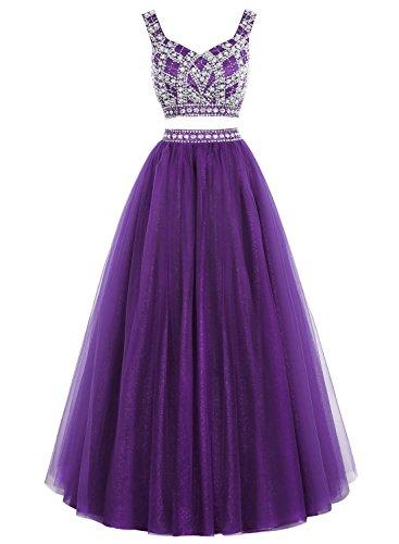Bbonlinedress Robe de soirée et de bal sexy emperlée deux pièces longueur ras du sol en tulle Violet