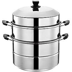 201 en acier inoxydable Steamer/marmite à soupe 2 couches avec des ménages Steamer 30-40cm épaissie Convient for Cuisinière à gaz/Cuisinière à induction Convient for 5-12 personnes (Size : 34cm)