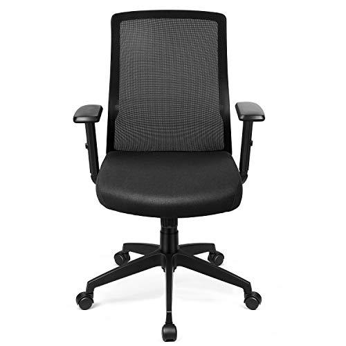 INTEY Bürostuhl, ergonomischer Schreibtischstuhl, Verstellbare Armlehne, Wippfunktion bis 28°, Lendenstütze, 360°drehbar und belastbar bis 110 KG (Versand durch DHL) - Verstellbare Armlehnen