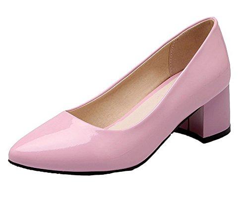Voguezone009 Femmes Chaussures De Porc Pointu Toe Talon Moyen Assorti Couleur Ballerines Rose