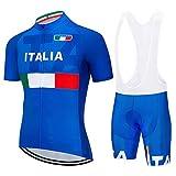 SUHINFE Abbigliamento Ciclismo Uomo, Completo Maglia Ciclismo con Pantaloni Corti da Ciclismo Asciugatura Asciugatura Rapida per MTB Ciclista, ITA-Blue, XL