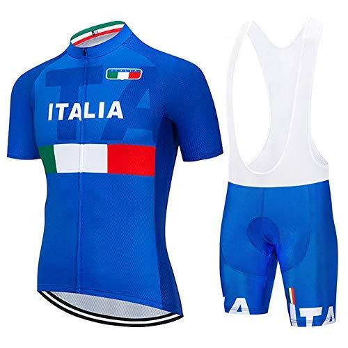 SUHINFE Fahrrad Bekleidung Trockend Stoff mit Radlerhose mit Sitzpolster für Fahrrad Rennrad MTB, ITA-Blue, XL