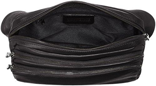 CTM Unisex Umhängetasche Tasche aus echtem Leder hergestellt in Italien - 26x22x9 Cm Schwarz (Nero)