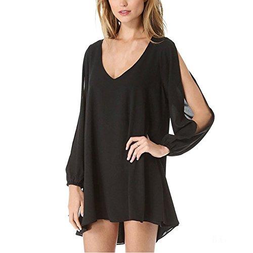 JXLOULAN solide robe en mousseline de soie couleur bustier femmes grandes femmes d'été col V à manches longues de taille Noir