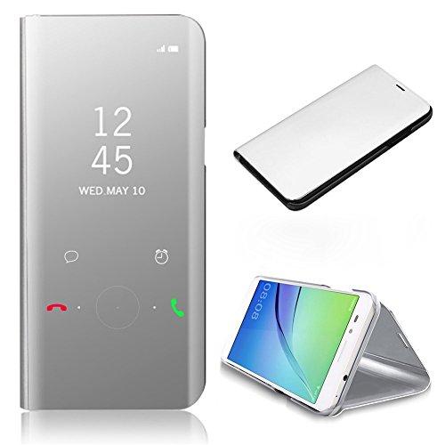 Silber Kid Leder (CrazyLemon Smart Spiegel + PC Hülle für Samsung Galaxy A3 2017 A320, PU Leder Klar Aussicht Spiegel Automatischer Schlaf Aufwachen Funktion Handyhülle für Galaxy A3 2017 - Silber)