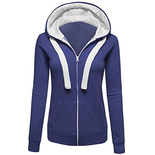 Donna giacca invernale felpa moda elegante lunga vintage casual hipster con cappuccio coulisse con lunga caldo giacca cerniera tasca manica cappotto