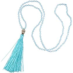 Cristal Rebordeado Plata Buda Cabeza Largo Cadena Collar Con Mar Azul Borla Colgante Para Mujer