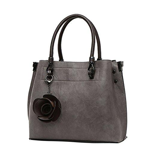 FZHLY Nuovo Sacchetto Di Spalla Di Modo Di Grande Capacità Di Ladies Retro Sacchetto Del Messaggero Di Svago,Grey Grey