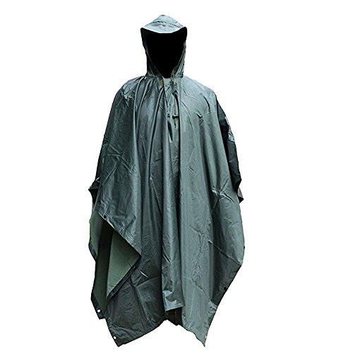 Emwel Regenjacke Regen Schutz Erwachsener Regenponcho Regenmantel Regenbekleidung wasserdicht Compact Standard Größe mit Kapuze Vinyl Jacket für Camping Outdoor Jagd (Grün)