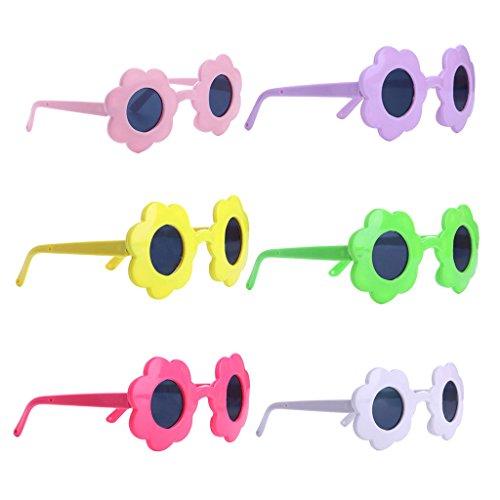 Baoblaze Puppenzubehör - 6 Paar Blume Rahmen Puppenbrille Sonnenbrille - Perfekt für 18 Zoll Puppe Kleidung Zubehör