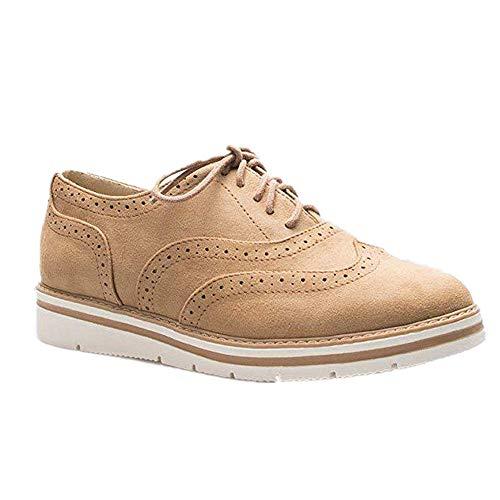 Zapatos Planos con Cordones Mujer Brogue Zapato Talón Plano Gamuza Colores Manera Tallas Grandes Botas...
