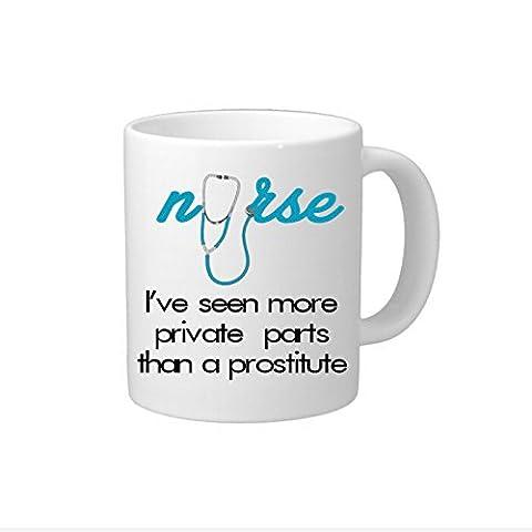 Funny Kaffee Tasse für Krankenschwester Motivational Kaffee Becher mit Sprüche I 've Private Parts gesehen, als ein Prostituierte 313ml Zitat Kaffee Tasse Geschenk für Arzt Krankenschwester