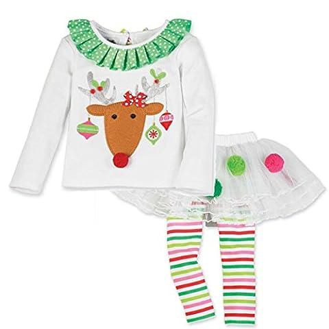 Sakure bébé fille mignon de Noël à manches longues O cou Coton Infant Toddler Père Elk gâteau Impression Bubble en maille TOPS Jupe Ensemble de vêtements