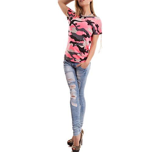 Toocool - Maglietta donna maglia t-shirt militar mimetica catenelle spalle nuova T5755 Corallo fluo