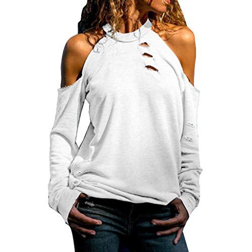 Daenerys Einfach Kostüm - iHENGH Damen Top Bluse Lässig Mode T-Shirt Frühling Sommer Frauen Bequem Blusen Lange Hülse Weg vom Schulter Normallack beiläufiges Hemd Einfache Oberteile(Weiß, XL)