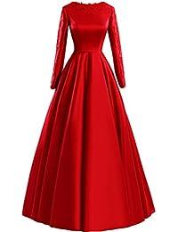 Sunvary Encaje Manga Larga A-line para vestidos de fiesta Party Fiesta Rojo rosso
