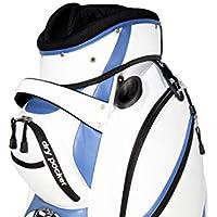 Bolsa de golf Hippo, impermeable, con bolsillos, color blanco y azul