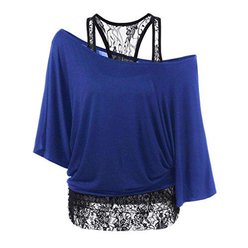 HARRYSTORE Frauen Casual Loose Bluse Plus Size Lace Splicing ein Schulter Tops T-Shirt (Medium, Blau) (Junioren Tank Ribbed)