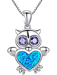 Arco Iris Jewelry Colgante de collar de la mujer de plata de ley con azul y verde ópalo de fuego y circonio cúbico púrpura, búho, cadena de veneciana, 46cm