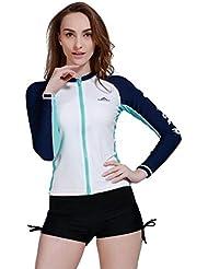 sbart T-shirt UPF 50+ Rashguard à manches longues Femme Fermeture Éclair Mode de bain Surf plongée snorkeling natation Tops