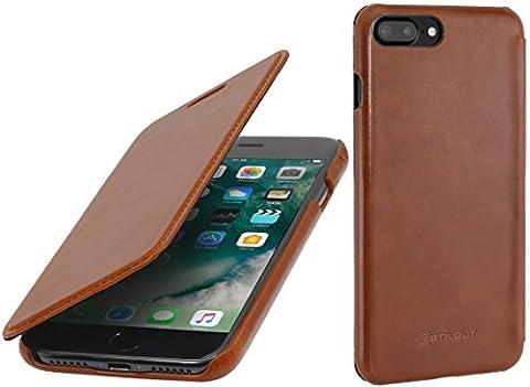 StilGut Book Type sans clip, housse iPhone 8 Plus & iPhone 7 Plus en cuir. Etui de protection à ouverture latérale pour iPhone 8 Plus & iPhone 7 Plus (5.5 pouces), Cognac