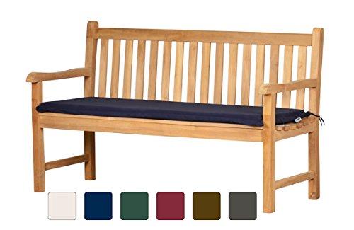 Bankauflage Bankton aus lichtechtem Dralon – 180 x 47cm, dunkelblau  Waschbar  Hoher Sitzkomfort  Öko-Tex 100 | Polsterauflage, Gartenauflage für Bänke | Sitzpolster, Sitz-Kissen...