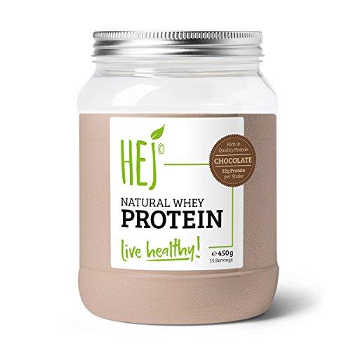 HEJ Natural Whey Protein Schoko - Eiweißpulver für Protein Shakes - Proteinpulver im Geschmack Schoko - 1er Pack (1 x 450g)