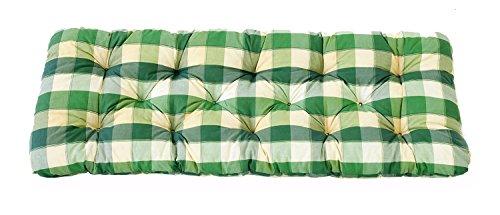 Ambientehome 2er Sitzkissen Bank Evje, kariert grün, ca 120 x 50 x 8 cm, Polsterauflage, Bankauflage