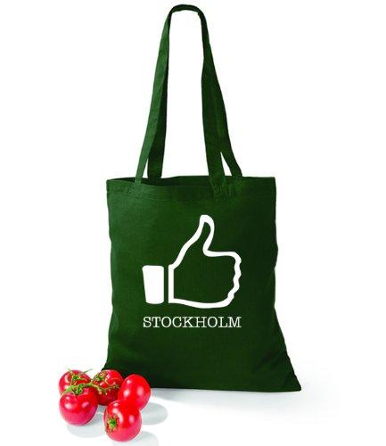 Artdiktat Baumwolltasche I like Stockholm Bottle Green