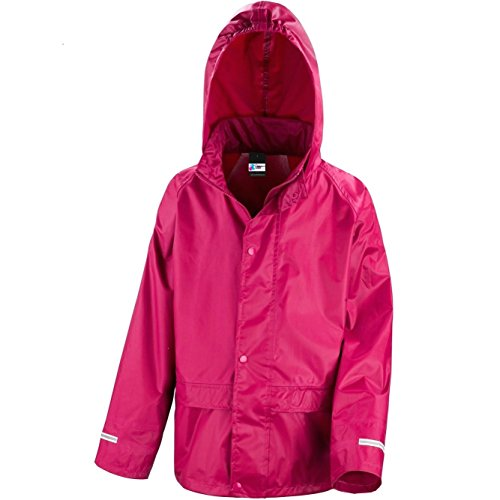 Kids Waterproof Rain Jacket In Black, Pink, Red or Royal Blue Childs Childrens Boys Girls
