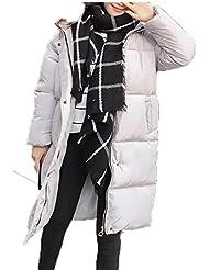 ZQQ Damas con capucha largo manga algodón holgada ropa código suelto largo grueso pan algodón chaqueta , 1026 gray , l