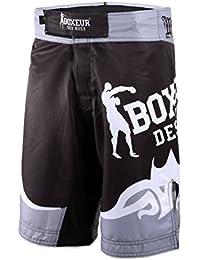 36921c000e4d BOXEUR DES RUES Fight Activewear Shorts da MMA con Logo e Stampa Tribale,  Argento,