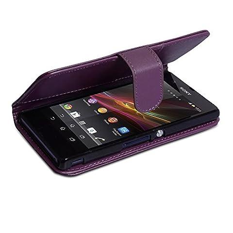 Sony Xperia Z Tasche Lila PU Leder Brieftasche Hülle